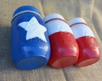 Painted Mason Jars, Custom Painted, Texas Flag