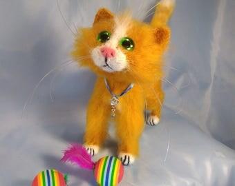 Red Cat Stuffed animal  Plush cat Kitten Europeanstreetteam Fanny cat  Stuffed toy  Waldorf Animal hand knit Sculpture cat Gift toy