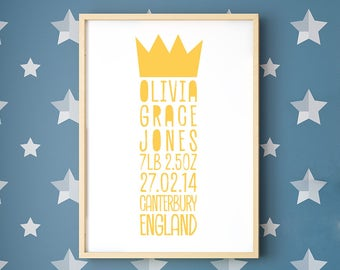 Personalised Baby Birth Details Framed Print with Crown, Digital Sampler, New Baby Gift, Baby Name, Birth Announcement, Christening Gift