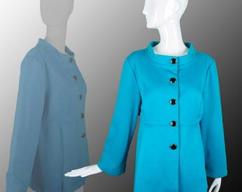 Fantastic Vintage Blue Bob Mackie Jacket with Button Up Front, Stylish Clean Lines, Pockets and Large Buttons