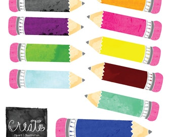 Watercolor Pencil Clip Art