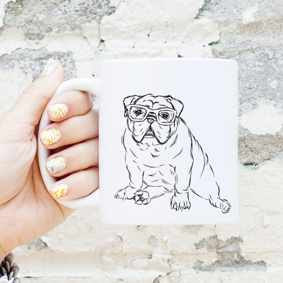 Oliver - Nerd Bulldog Mug - English Bulldog Gift, Funny Gift, Cute Holiday Gift, Dog Lover Gift, Gifts for Him, Husband Gift, Gifts for Her