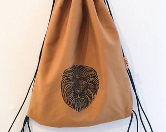 Hand block printed designer cotton drawstring backpack; lion head drawstring backpack