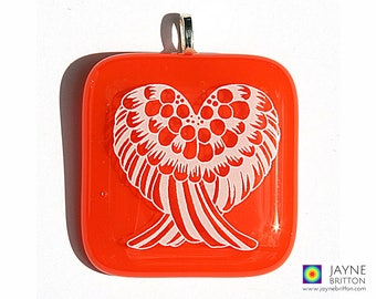 Angel Wings Pendant, orange glass, Sacral chakra, Archangel Gabriel, orange statement necklace