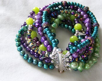 MULTI STRAND BRACELET ... shades of purple, turquoise and green