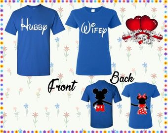 Hubby Wifey T Shirt Mickey Minnie Back Shirt Front Back Print T-shirts Husband Wife Couple Tshirts Couple Shirt Couple Tees Gift For Couple