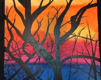 Multicolor Sunset Acrylic Painting   Canvas