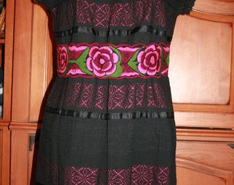 Oaxaca Huipil Telar Mexican Embroidery Womens Ladies Dress, Boho, Gypsy Dress Medium Large Xlarge