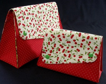 small cosmetic bag dotted with cherries