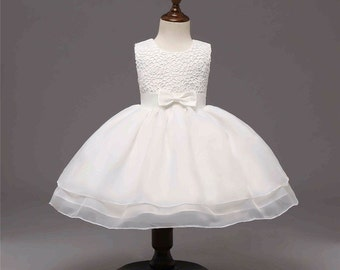 Abby Baby Girl Ivory Bow Lace Formal Dress Flower Girl Christening Wedding Party Pageant Gown Bridesmaid