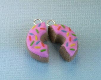 Best Friend Pink Doughnut Polymer Clay Charm
