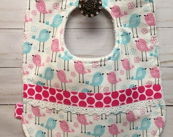 Baby Girl Bib with Kittle Song Birds