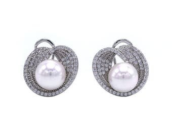 Earrings with Pearl and cubic zirconia