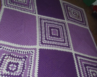 Beautiful Hand Made Purple Granny Square Blanket Throw Afghan