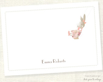 Personalized Notecard Set / Set of Flat Personalized Stationery / Stationary Cards/ Personalized Namecards/Bunnies/Bunny