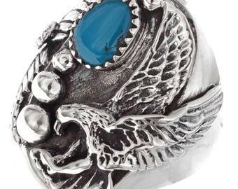 Mens  Turquoise Ring Indian Silver Eagle Any Size