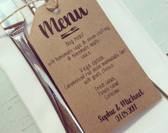 Menu place card for wedding table - rustic tag, Wedding favour tags, Personalised Wedding Tags, Kraft Tags