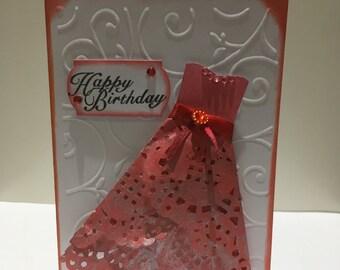 Happy Birthday doily dress card for Women