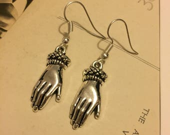Cursed hand solid silver earrings