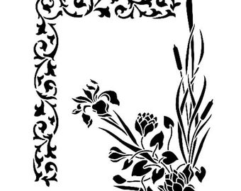 Floral Corner Duo 190 micron Mylar Stencil durable and sturdy- A5 - A4 - A3 *NEW* - Free UK P & P