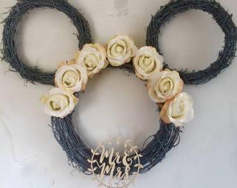 Disney Vintage Mr & Mrs Wedding Wreath