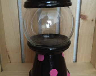 Black with hot pink dots faux gumball machine; candy dish; home decor; gift under 20; teacher gift; thank you gift; birthday gift