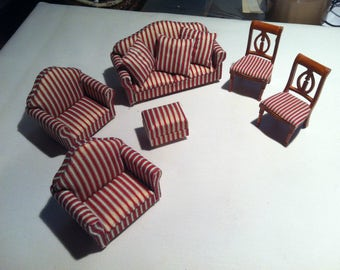 Vintage 9 PC Doll House accessories, furniture living room couch Chair chairs