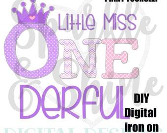 Little Miss ONEderful Birthday iron on - Digital Iron On - Digital shirt iron on - iron on transfer - first birthday - instant download