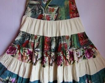 On Sale! Women's Skirt/ Colorful Skirt/ Maxi France  Skirt/Boho Skirt/ Summer Boho Skirt/Parrot and Flower Article/Zipper/ Size EUR 42