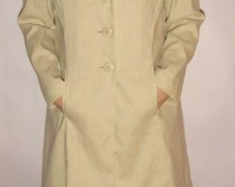 Women's Trenchcoat/Light Gray Linen Coat/PER UNA Coat/Spring Summer Coat/Button Up/Long Linen Jacket/Size  EUR 42