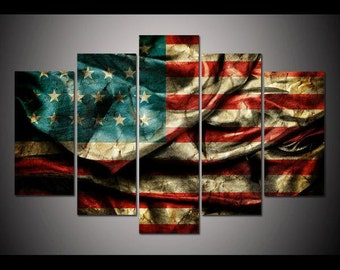 Five Panel Vintage American Flag Print