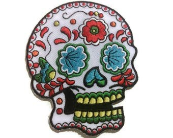 Sugar Skull Embroidered Patch, iron on or sew on backing, size 3 X 2.5