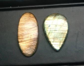 Labradorite 2 piece 100 ct with beautiful yellow fire,,,