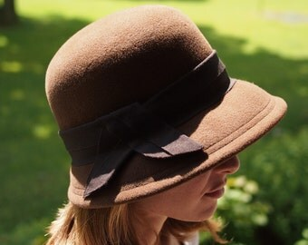 Felt Hat Cloche Brown