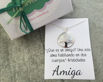 Silver Pendant tree , personalized gift, best friend gift, christmas gift