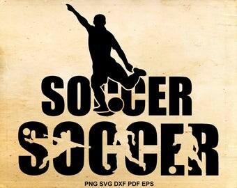 Soccer svg files, Soccer silhouette clipart, Shirt design, Iron on designs,  Cut files for Cricut, Files for Silhouette, eps dxf png pdf svg
