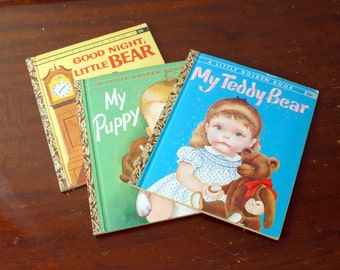 Vintage Patsy Scarry Books- My Teddy Bear-My Puppy-Goodnight Little Bear-A Little Golden Book-Children's Story Books