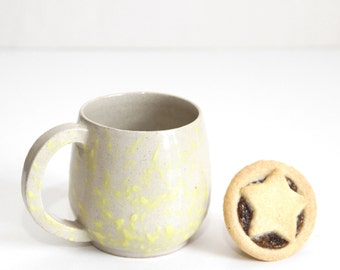 yellow dripping cup, mug, shiny, wheel thrown, handmade, ceramic, glazed