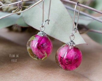 Real rose jewelry Nature resin jewelry Terrarium jewelry Botanical earrings Resin jewelry  Terrarium earrings y Botanical jewelry