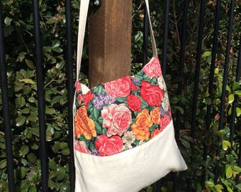 Calico Floral Market Bag Book Bag