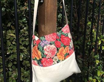 Calico Floral Market Bag Book Bag