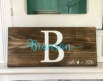 Monogram Wood Sign, Family name sign, Last Name Wood Sign, Personalized Sign