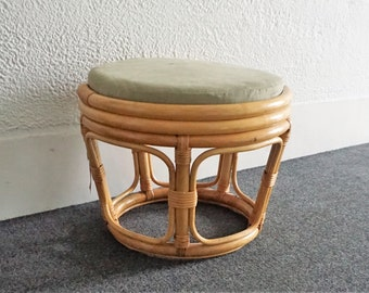 Round Mid Century Bamboo Stool with Original Sage Green Suede Cushion