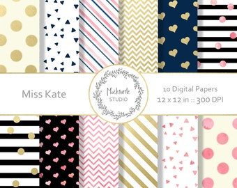 Modern Chic digital paper -  Chic clipart - Chic Clip art - Modern digital paper - Scrapbook paper - Modern Prints - Miss Kate