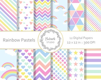 Rainbow digital paper - Rainbow clipart - Scrapbook paper, Rainbow Pastel Digital Paper, Pastel Digital Paper, Commercial use