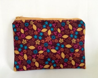 Autumn Leaf Print Flat Zipper Pouch