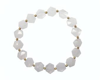 Hexagon Moonstone Bracelet