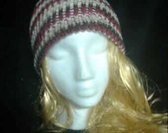 SALE!!! Hand Knit Maroon and Brown Beanie