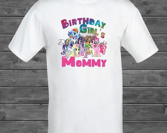 Birthday Girl's Mommy My Little Pony Iron On Transfer T Shirt Design