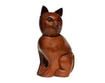 Handmade Wooden Cat Sculpture - Cat Sculpture - Premium Wooden Sculpture - Gift for her - Gift for Cat lovers - Cat Statue - Cat Lover